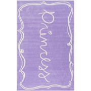 Zoomie Kids Cesar Hand-Tufted Bright Purple/White Area Rug; 7'6'' x 9'6''