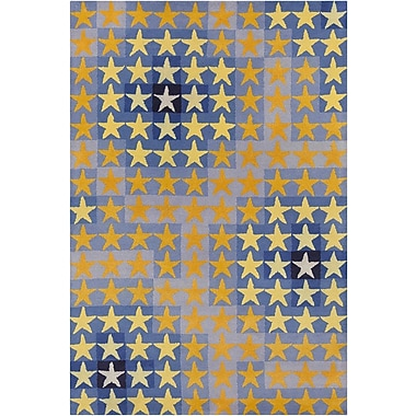 Zoomie Kids Blair Hand Tufted Wool Blue/Orange Area Rug