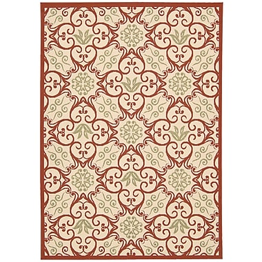 Alcott Hill Carleton Ivory & Rust Indoor/Outdoor Area Rug; 5'3'' x 7'5''