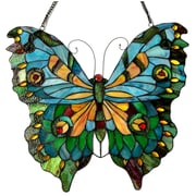 Astoria Grand Laurie Tiffany Glass Butterfly Window Panel
