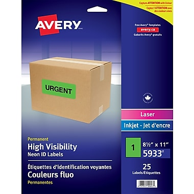 Avery 5933 High Visibility Full Sheet, Green, 25/Pack