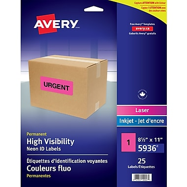 Avery 5936 High Visibility Full Sheet, Magenta, 25/Pack