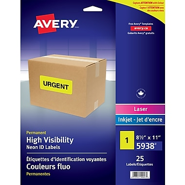 Avery 5938 High Visibility Full Sheet, Yellow, 25/Pack