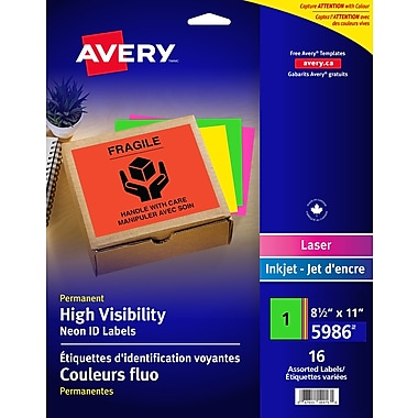 Avery High Visibility Neon Labels, 8.5