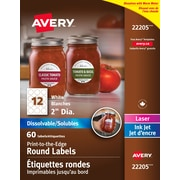 "Avery 22205 Dissolvable Labels, Round, 2"" diameter, 60/Pack"