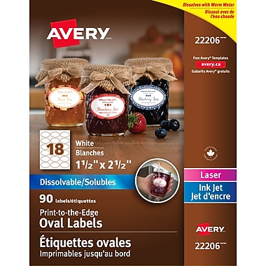 Avery 22206 Dissolvable Labels, Oval, 1 1/2