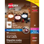 "Avery 22206 Dissolvable Labels, Oval, 1 1/2"" x 1 1/2"", 90/Pack"