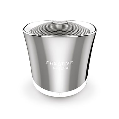 Creative Labs Creative Woof3 Portable Wireless Bluetooth Speaker, Chrome (51MF8230AA000)