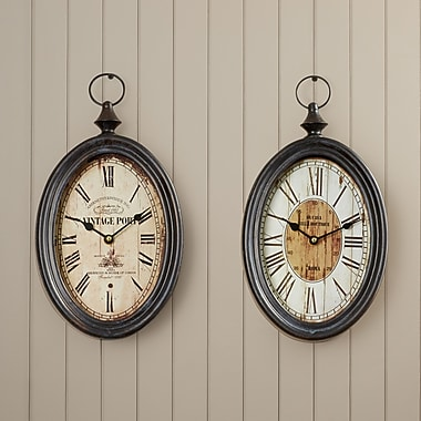 One Allium Way Dottie Oval Wall Clock (Set of 2)