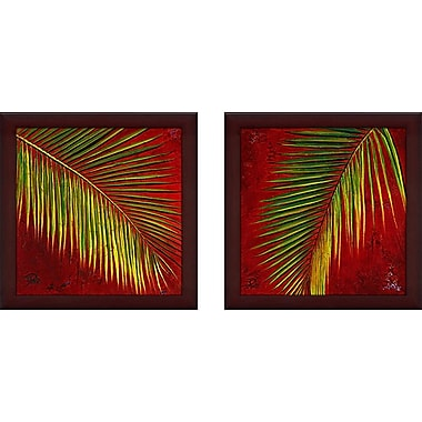 World Menagerie 'Leaves' 2 Piece Framed Acrylic Painting Print Set Under Glass