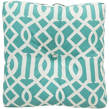 Alcott Hill Winslow White Juxtaposed Outdoor Pillow Cover; Teal
