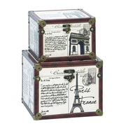 Cole & Grey Wood and Leather 2 Piece Box Set