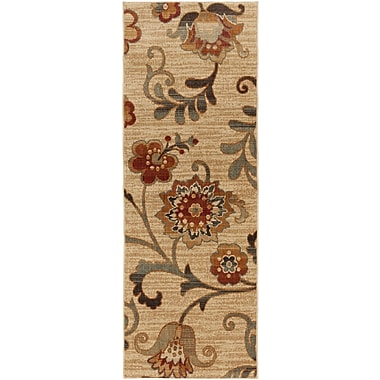 Charlton Home Tilghman Taupe Floral Area Rug; Runner 2'7'' x 7'3''