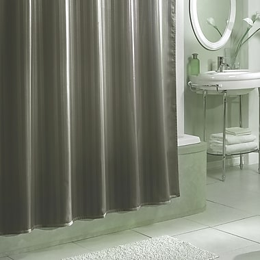 Charlton Home Darmstadt Damask Stripe Shower Curtain Liner; Grey
