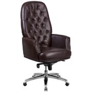 Red Barrel Studio Parnassus High Back Traditional Tufted 29'' Leather Swivel Executive Chair; Brown
