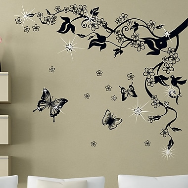 Walplus Butterfly Vine and Swarovski Wall Decal