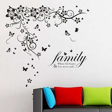 Walplus New Huge Butterfly Vine and Family Quote Wall Decal