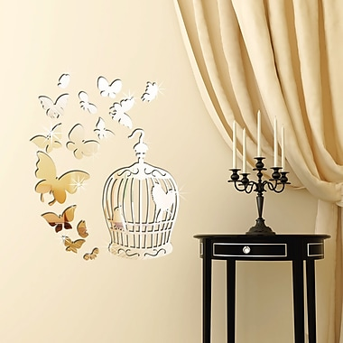 Walplus Butterflies and Birdcage Mirror Wall Decal