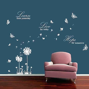Walplus Dandelion Butterflies and Learn Live Hope Wall Decal