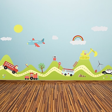 Walplus Happy Hills and Happy Cars Wall Decal