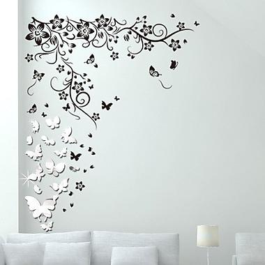 Walplus Mirror Butterflies Vine Wall Decal