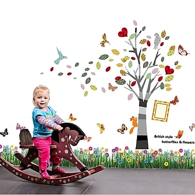 Walplus Butterfly Grass and Colorful Photo Frame Wall Decal