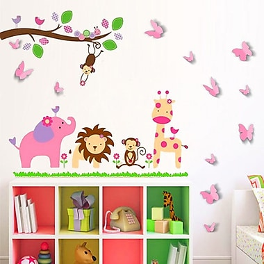 Walplus Huge Elephant and 3D Butterfly Wall Decal