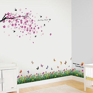 Walplus Butterfly Grass and Swallow Wall Decal