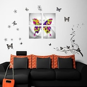 Walplus Butterfly Vine and Canvas Butterfly Wall Decal
