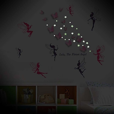 Walplus Fairies w/ 3D Butterfly and Stars Glowing Wall Decal