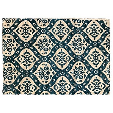 World Menagerie Mustafa Ogee Printed Cotton Hand Woven Teal Area Rug