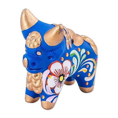 Bloomsbury Market Hakeem Little Pucara Bull Ceramic Figurine; Blue