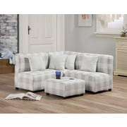 Latitude Run Mee Kids Cotton Sectional and Ottoman w/ Cup Holder