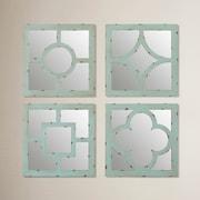 One Allium Way 4 Piece Wood Mirror Decor Set; Blue/Green