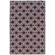 Linon Salonika Quatrefoil Hand-Woven Purple Area Rug