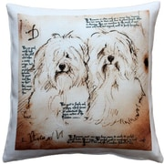 Pillow Decor Havanese Duo Dog Indoor/Outdoor Throw Pillow