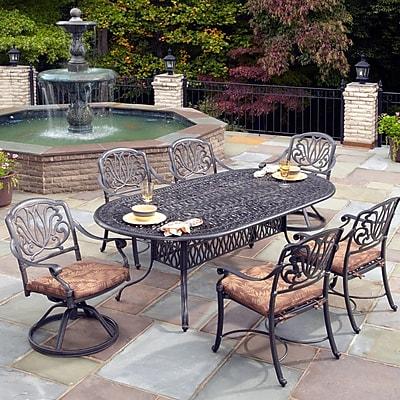 One Allium Way Lular 7 Piece Dining Set w/ Cushions; Charcoal