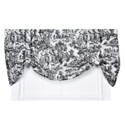 One Allium Way Lablanc 60'' Toile Tie-Up Curtain Valance; Black