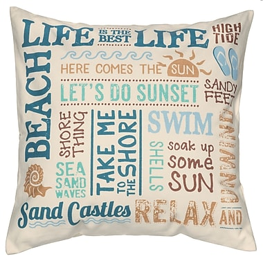 Prinz Water's Edge 'Beach Life' Cotton Throw Pillow
