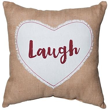 Prinz 'Laugh' Sentiment Cotton Throw Pillow