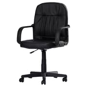 Symple Stuff Mid-Back Leather Desk Chair; Black