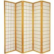 World Menagerie 70'' x 85'' Tejas Shoji 5 Panel Room Divider; Honey