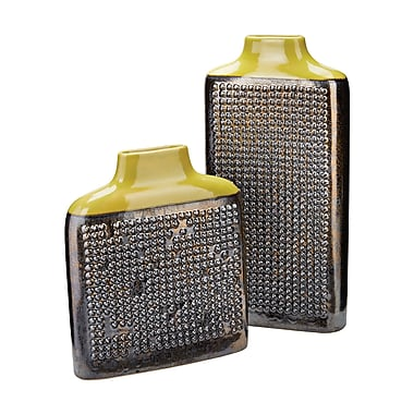 Bloomsbury Market Agata 2 Piece Dotted Relief Vase Set; Crystal Gold / Lawn Green