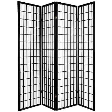 Bloomsbury Market Dagan 70'' x 56'' Window Pane Shoji 4 Panel Room Divider; Black