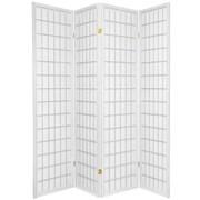World Menagerie Noan 70'' x 56'' Window Pane Shoji 4 Panel Room Divider; White