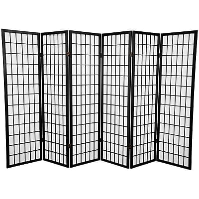 Bloomsbury Market Dagan 58.75'' x 84'' Window Pane Shoji 6 Panel Room Divider; Black