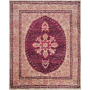 World Menagerie Asbury Hand-Knotted Fuchsia/Beige Area Rug; 8' x 10'
