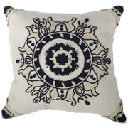 World Menagerie Chemaia Embroidered Cotton Throw Pillow; Blue