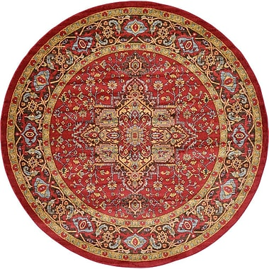 World Menagerie Zoey Red Area Rug; Round 8'