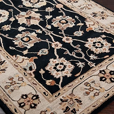 World Menagerie Topaz Coal Black Area Rug; Round 9'9''